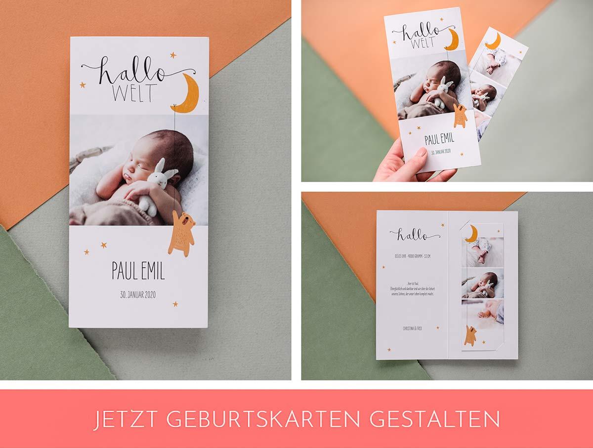 Geburtskarte mit Mond Illustration für Jungen