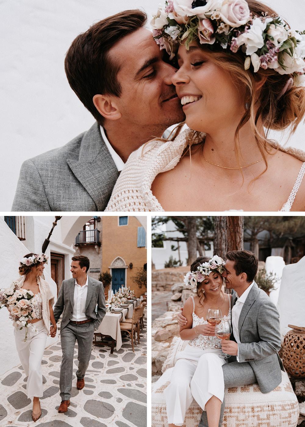 Die Braut und der Bräutigam feiern verliebt ihren großen Tag. Auf dieser Collage trägt sie kein Hochzeitskleid sondern eine Hose mit passendem Spitzenoberteil und dazu einen Blumenkranz auf dem Kopf.