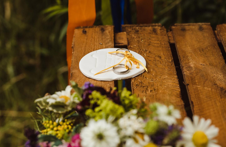 Zwei silberne Eheringe liegen auf einem DIY Ringkissen mit Camper Motiv zur Camper Hochzeit.