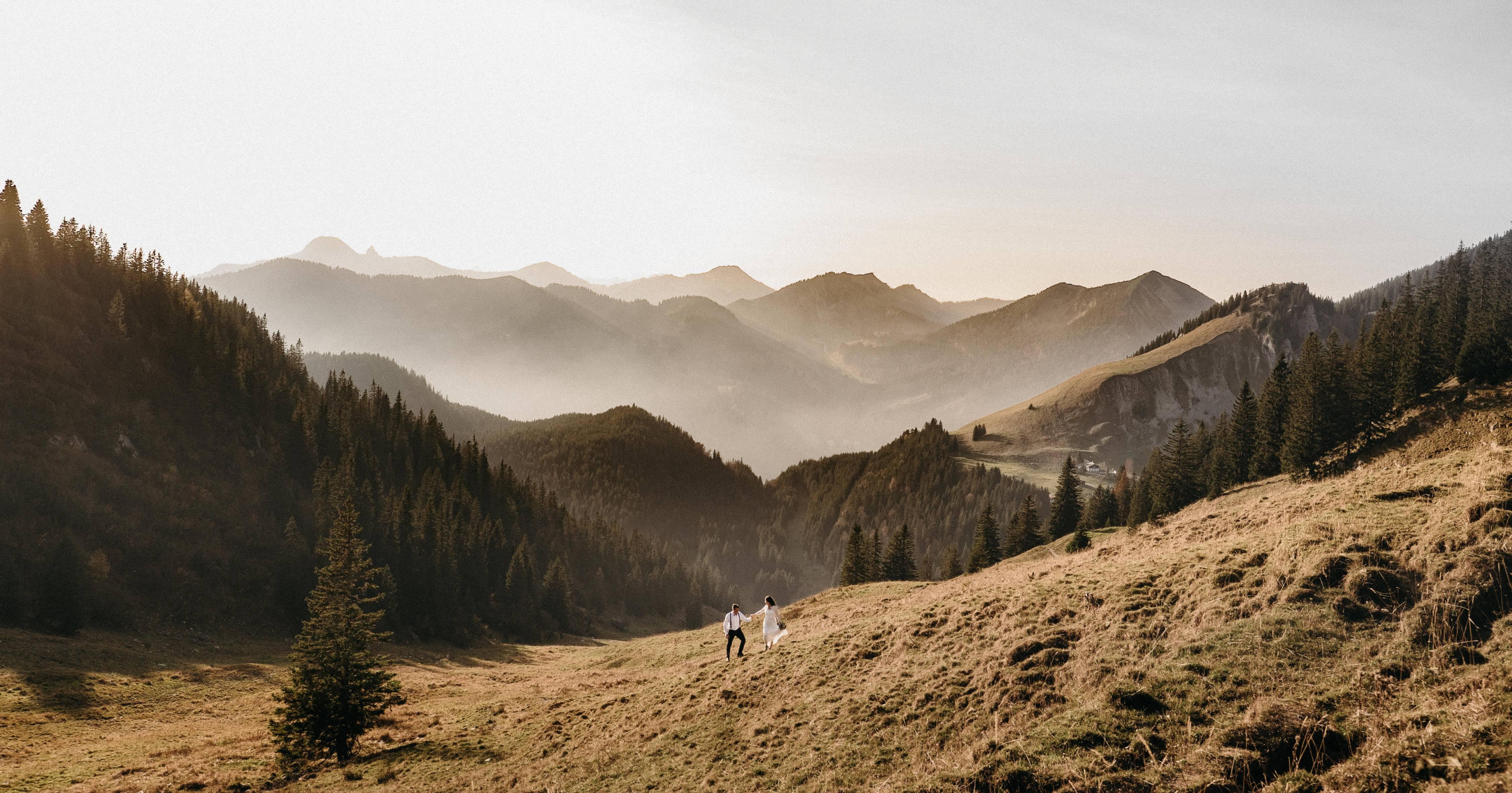Elopement, Heiraten in den Bergen, zu Zweit