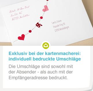 Content Insert Bedruckte Briefumschläge Hochzeit